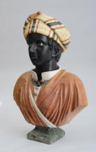 CONTINENTAL CARVED SPECIMAN MARBLE BUST OF A YOUNG MAN, 20TH CENTURY