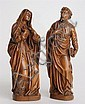 PAIR OF SOUTH GERMAN OR NORTH ITALIAN FIGURES OF THE VIRGIN AND ST. JOHN, FROM A CRUCIFIXION GROUP