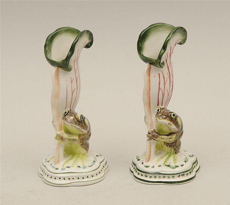 Pair of Italian Porcelain Bud Vases