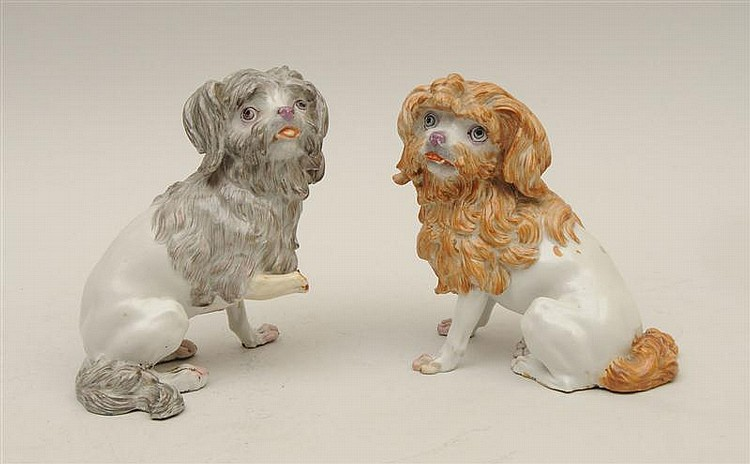 Pair of Continental Porcelain Models of Dogs
