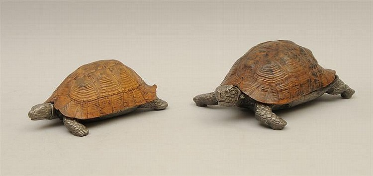 Two Metal-Mounted Tortoise-Shaped Boxes