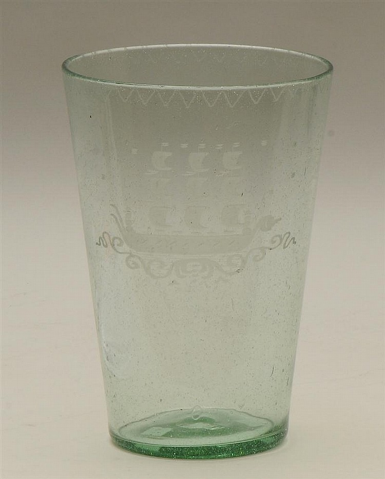 Large Continental Blown Glass and Etched Beaker