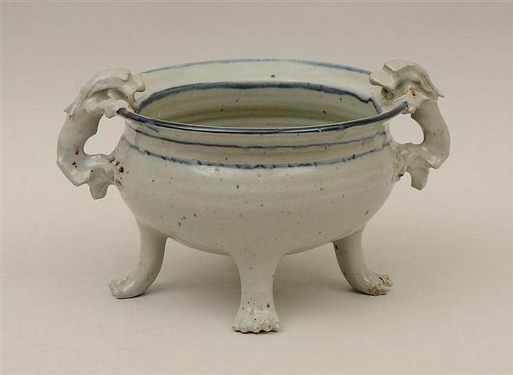 Chinese Glazed Pottery Footed Censer