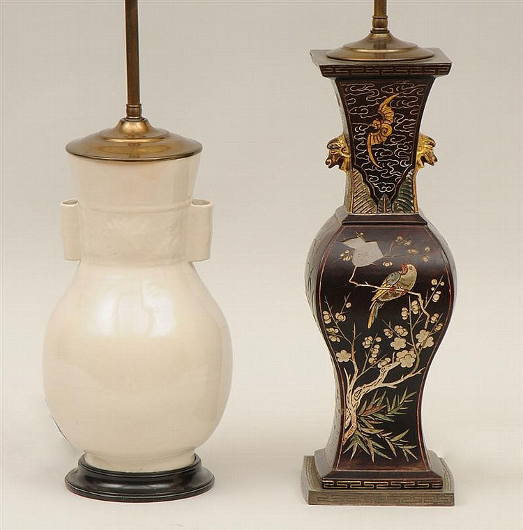 Chinese White Porcelain Vase, Mounted as a Lamp