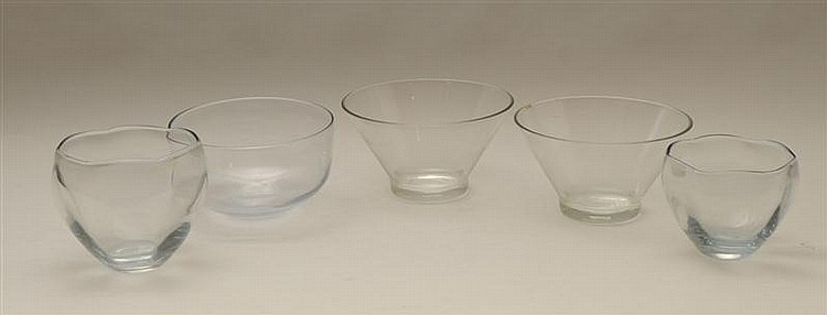 Pair of Clear Glass Bowls