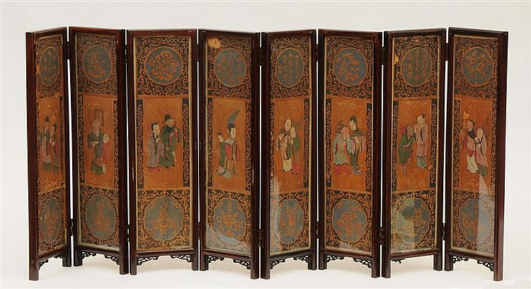 Chinese Painted Straw Eight-Panel Table Screen