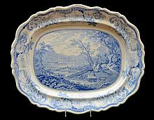 STAFFORDSHIRE BLUE TRANSFER-PRINTED TOPOGRAPHICAL PLATTER, PANORAMIC VIEW OF PITTSBURGH