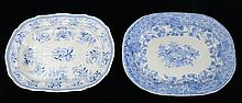 TWO STAFFORDSHIRE BLUE TRANSFER-PRINTED PLATTERS