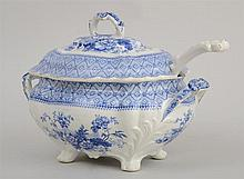 STAFFORDSHIRE BLUE TRANSFER-PRINTED TUREEN AND COVER AND AN ASSOCIATED LADLE