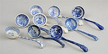 GROUP OF NINE STAFFORDSHIRE BLUE TRANSFER-PRINTED LADLES