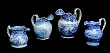 GROUP OF FOUR STAFFORDSHIRE BLUE TRANSFER-PRINTED JUGS