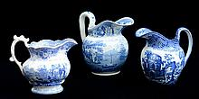 THREE STAFFORDSHIRE TRANSFER-PRINTED PITCHERS