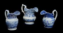 THREE STAFFORDSHIRE BLUE TRANSFER-PRINTED PITCHERS