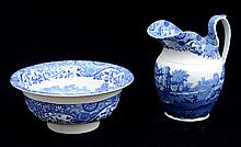 COPELAND BLUE TRANSFER-PRINTED BASIN AND PITCHER, IN THE