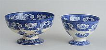 DOULTON BURSLEM BLUE TRANSFER-PRINTED FOOTED PUNCH BOWL