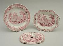 GROUP OF THREE STAFFORDSHIRE RED TRANSFER-PRINTED ARTICLES