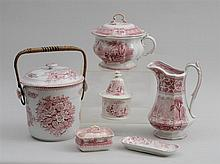 GROUP OF SIX STAFFORDSHIRE RED TRANSFER-PRINTED TOILETRY ARTICLES
