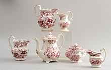 SIX STAFFORDSHIRE FLORAL-DECORATED RED TRANSFER-PRINTED ARTICLES