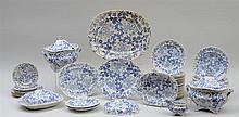 WILLIAM RIDGWAY & CO. 59-PIECE BLUE TRANSFER-PRINTED PART DINNER SERVICE,