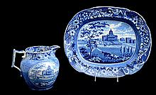 TWO STAFFORDSHIRE PEARLWARE BLUE TRANSFER-PRINTED TOPOGRAPHICAL ARTICLES