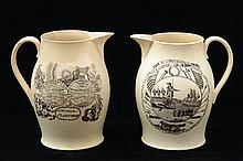 PAIR OF LIVERPOOL TYPE TRANSFER-PRINTED CIDER JUGS