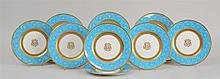 SET OF SIXTEEN MONOGRAMMED MINTONS SERVICE PLATES