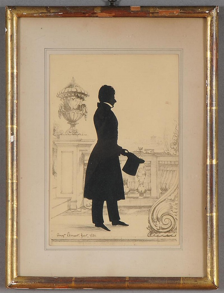 Augustin Amant C. Edouart: Silhouette of a Gentleman on a Terrace