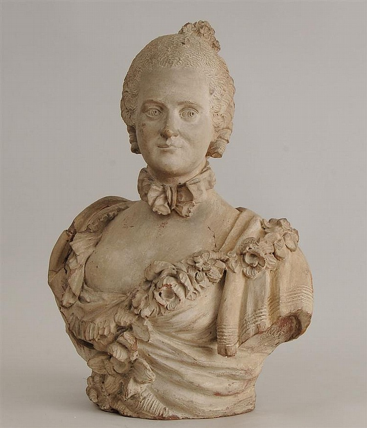 Louis XV Style Gray-Wash Terracotta Bust of a Young Lady