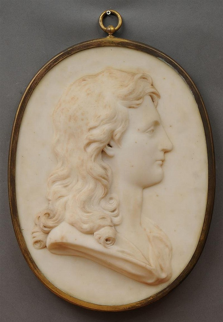 French Carved White Marble Oval Profile Relief of a Youth