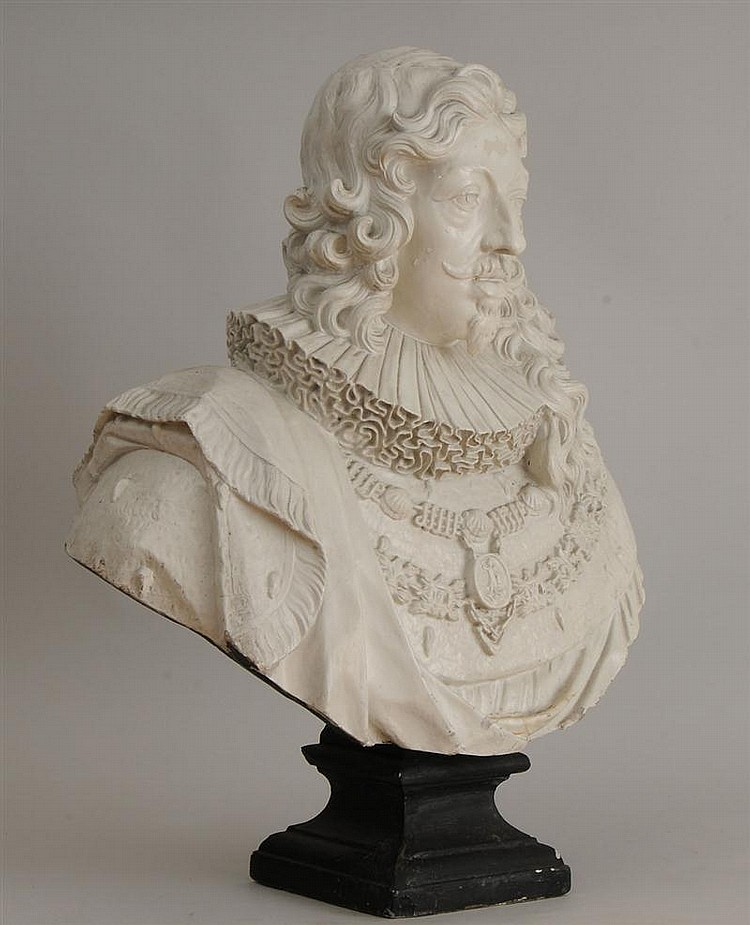 Louis XIV Style White-Painted Composition Bust, Possibly Cardinal Richelieu