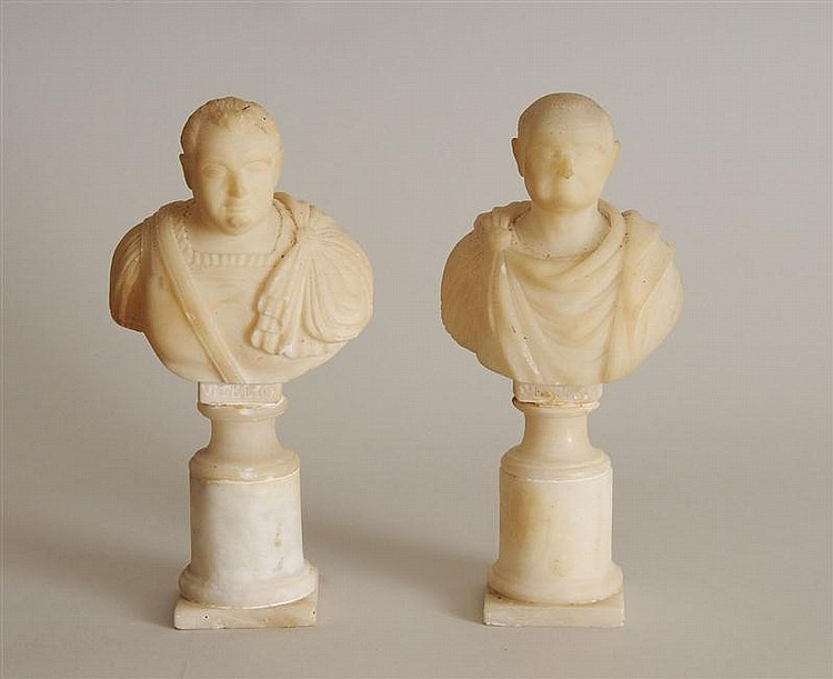 Pair of Italian Carved Alabaster Busts of Romans, After the Antique