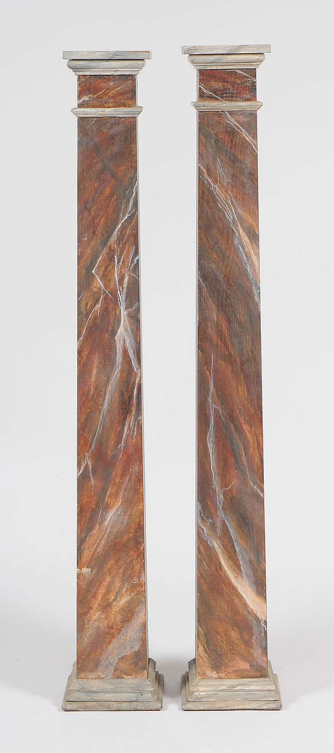Pair of Neoclassical Faux Marble Pedestals