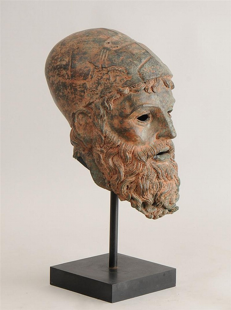 Red Encrusted Bronze Head of a Bearded Warrior with Helmet, After the Antique