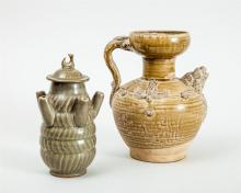TWO LONGQUAN STYLE CELADON GLAZED ARTICLES