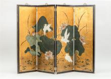 CHINESE PAINTED WOOD FOUR-FOLD SCREEN