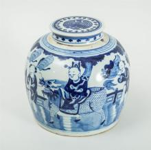CHINESE BLUE AND WHITE PORCELAIN LARGE JAR AND ASSOCIATED COVER