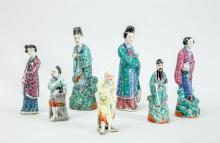 GROUP OF SEVEN CHINESE PORCELAIN FIGURES
