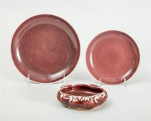 TWO CHINESE PEACH BLOOM GLAZED PORCELAIN DISHES AND A BRUSH WASHER