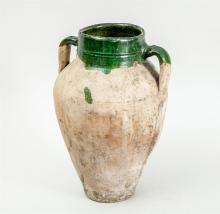 PART GREEN-GLAZED POTTERY TWO-HANDLED OVOID JAR