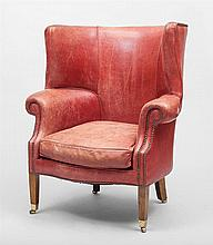 George III Style Leather-Upholstered Wing Armchair, Modern