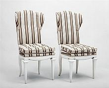 Two Continental White Painted Side Chairs, Modern