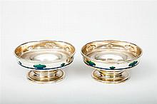 Pair of Enamel-Mounted Silver English Arts and Crafts Small Footed Bowls