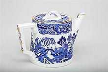 Hammersley & Co. Bone China Blue Willow Pattern Teapot and Cover, Retailed by Tiffany & Co., New York.