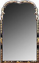Queen Anne Style Black Lacquer Pier Mirror