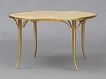 BILLY HAINES STYLE BRASS AND CAPIZ SHELL TABLE