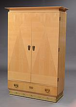 FINE AUSTRIAN ART DECO BRASS-MOUNTED SYCAMORE PARQUETRY CABINET, VIENNESE, SIGNED AUGUST UGETHUM, CIRCA 1905
