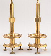 PAIR OF CONTEMPORARY BRASS COLUMN-FORM TABLE LAMPS