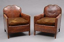 PAIR OF ART DECO BRASS STUDDED LEATHER AND VELVET ARMCHAIRS