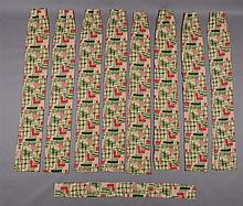 FOUR PAIRS OF PRINTED COTTON CURTAINS IN THE
