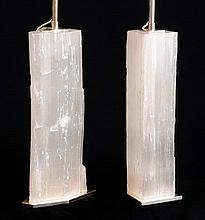 TWO SIMILAR SILVER-PLATE MOUNTED MINERAL SPECIMEN TABLE LAMPS